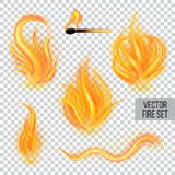Painted transparent vector fire Royalty Free Stock Images