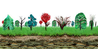 Painted trees and earth cross section Stock Photography