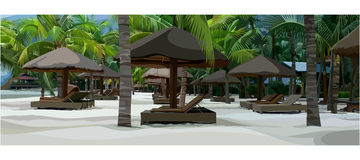 Painted tropical beach with loungers and parasols Royalty Free Stock Photo