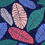 Painted tropical exotic leaves abstract colors in a cartoon style. Seamless vector wallpaper pattern on a dark blue. Painted tropical exotic leaves abstract Royalty Free Stock Photos