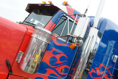 Painted truck. Driver's cab of big lorry painted on blue and red Royalty Free Stock Images