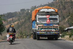 Painted truck in Nepal Royalty Free Stock Photography