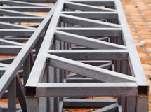 Painted truss space frame made from welded metal steel rectangular box Royalty Free Stock Images