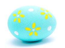 Painted turquoise easter egg isolated Stock Image