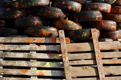 Painted tyres. After paintball battle Royalty Free Stock Images