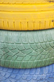 Painted tyres Stock Photos