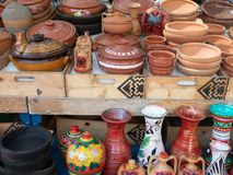 Painted and Unglazed Terra Cotta Pottery in Outdoor Market