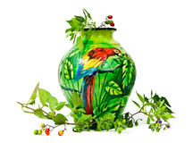 Painted Vase with Parrot and Wild Berries Stock Photography