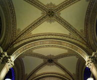 Vienna interior architecture. Beautiful painted vault with pillars, detail from Vienna, Austria Royalty Free Stock Image