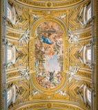 The painted vault by Pietro da Cortona, in the Church of Santa Maria in Vallicella or Chiesa Nuova, in Rome, Italy. stock photo