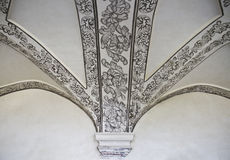 Painted vaulted ceiling. In museum of Oaxaca, Mexico Stock Images
