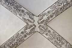 Painted vaulted ceiling. Top of painted vaulted ceiling Stock Photo