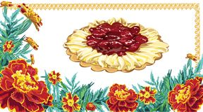 Painted in a vector sweet pastry with cream and cherry cream on. An embroidered napkin in a frame of brightly colored marigold flowers, on a white background Royalty Free Stock Photo