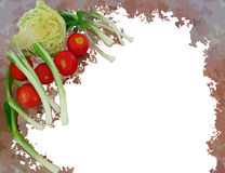 Painted vegetables frame isolated on white Royalty Free Stock Photography