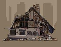 Painted verfiel das Häuschen mit zwei Geschossen in den Ruinen stock abbildung