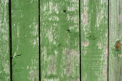 Painted vibrant green old faded wooden planking background with flaws. On it surface royalty free stock image
