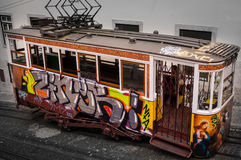 Painted vintage tramway in Lisbon, Portugal Stock Image