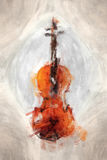Painted violine. 2D illustration of a grunge painted violine Royalty Free Stock Images