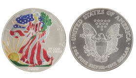 Painted Walking Liberty Silver Dollar. 2000 isolated in white Stock Image