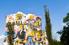 Painted wall of the building. Street art in Warsaw, Poland Stock Images
