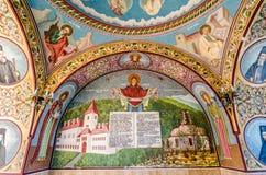 Painted wall at entrance into Sambata monastery stock images