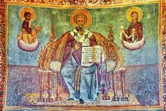 Painted wall fresco Stock Photo