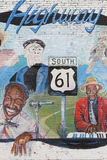 Painted wall in honor of old blues men Royalty Free Stock Photos
