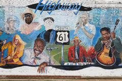 Painted wall in honor of old bluesmen in Leland, Mississippi Royalty Free Stock Images