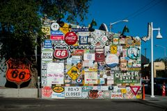 Painted wall. Route 66. Historic Route 66 sign. stock images