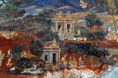 Painted wall Royal Palace Pnom Penh, Cambodia Royalty Free Stock Photo