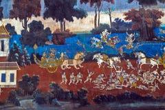 Painted wall Royal Palace Pnom Penh, Cambodia Royalty Free Stock Images