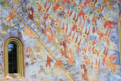 Painted wall at Sucevita monastery in Bucovina Royalty Free Stock Photography