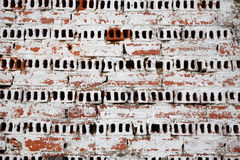 Painted wall. Textured bricks wall painted in white color Royalty Free Stock Image