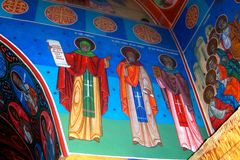 Painted walls in Almas Monastery, Moldavia Royalty Free Stock Images