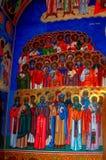 Painted walls in Almas Monastery, Moldavia Royalty Free Stock Photo
