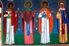 Painted walls in Almas Monastery, Moldavia Royalty Free Stock Photography