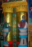 Painted walls in Almas Monastery, Moldavia Royalty Free Stock Photos