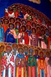 Painted walls in Almas Monastery, Moldavia Stock Images