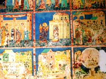 Painted walls in  Arbore Monastery, Moldavia, Romania. Arbore is best known for its church, dedicated to Saint John the Baptist. Its painted church was the first Royalty Free Stock Photos