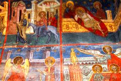 Painted walls in Humor Monastery, Moldavia, Romania Royalty Free Stock Photography