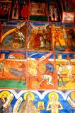 Painted walls in Humor Monastery, Moldavia, Romania Royalty Free Stock Photos