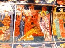 Painted walls in Parhauti Monastery, Moldavia Royalty Free Stock Photos