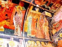Painted walls in Parhauti Monastery, Moldavia Royalty Free Stock Images