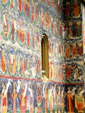 Painted walls. Sucevita Monastery, Moldavia, Romania. Sucevița Monastery is an Eastern Orthodox convent situated in the Northeastern part of Romania. It is Royalty Free Stock Image