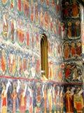 Painted walls. Sucevita Monastery, Moldavia, Romania Royalty Free Stock Image