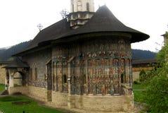 Painted walls. Sucevita Monastery, Moldavia, Romania Royalty Free Stock Photo