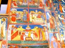 Painted walls, Voronet Monastery, Moldavia, Romania Stock Image