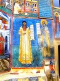 Painted walls, Voronet Monastery, Moldavia, Romania Royalty Free Stock Images