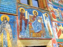 Painted walls, Voronet Monastery, Moldavia, Romania Stock Photos