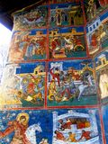 Painted walls, Voronet Monastery, Moldavia, Romania Stock Photography